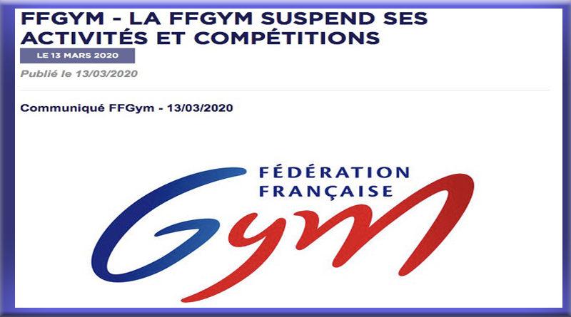 La FFGYM SUSPEND SES ACTIVITES ET COMPETITIONS