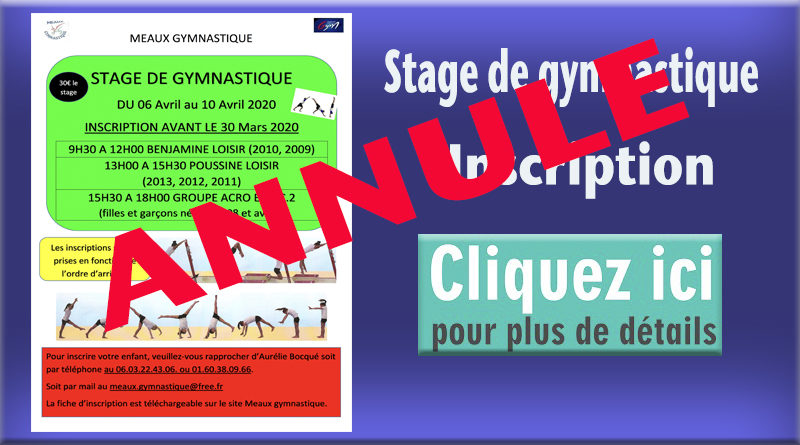 ANNULÉ – Stage de Gymnastique – Printemps